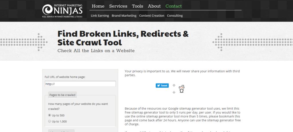 Internet Marketing Ninjas Sitemaps Generator Tool