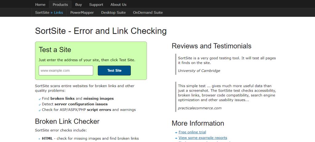 SortSite - Error and Link Checking