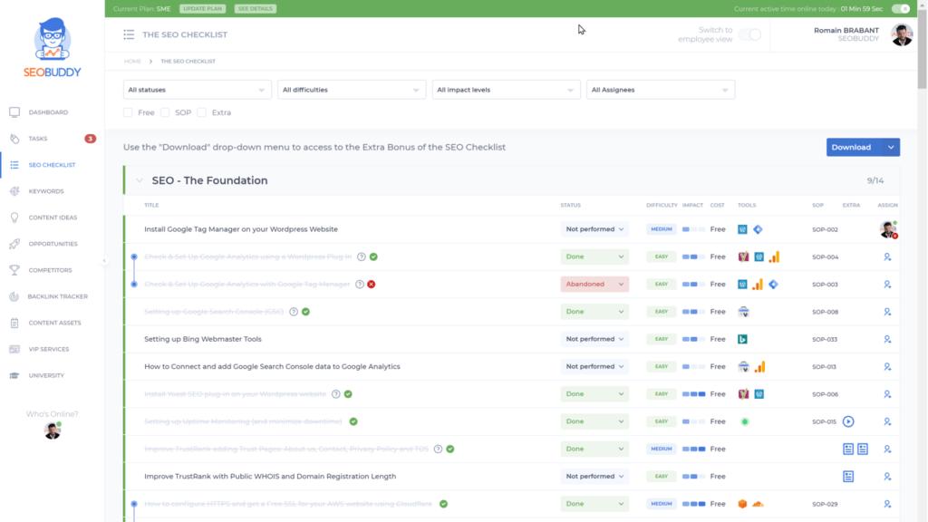 seo checklist web app